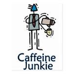 Drogadicto del cafeína tarjetas postales