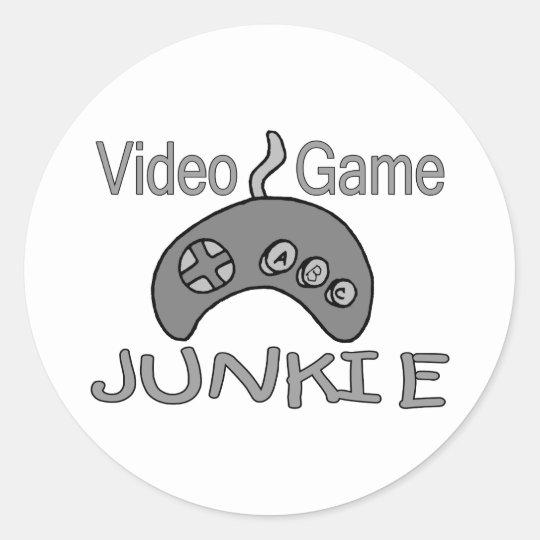 Drogadicto del videojuego pegatina redonda