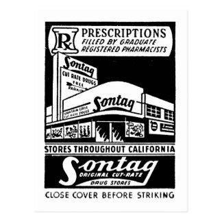 Droguería de Sontag del Matchbook del vintage del Tarjetas Postales