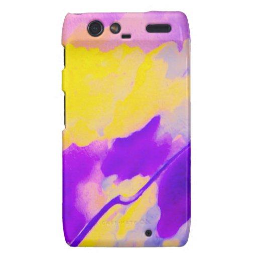 Droid RAZR - Lavado del color - púrpura y amarillo Droid RAZR Fundas