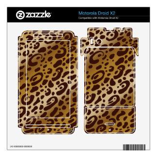 Droid X2 Leopard Print Vinyl Skins Motorola Droid X2 Decal