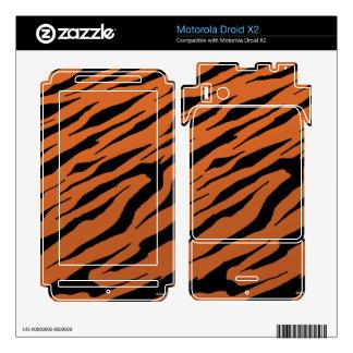 Droid X2 Orange Tiger Stripes Vinyl Skins Motorola Droid X2 Skin