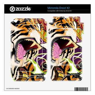 Droid X2 Tiger Vinyl Skins Motorola Droid X2 Decals