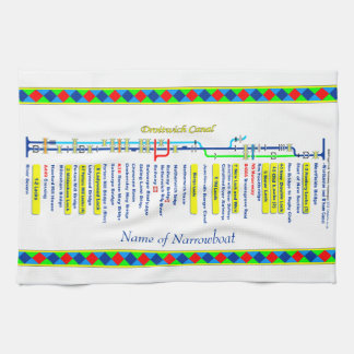 Droitwich Canal UK Inland Waterways Route Yellow Kitchen Towel
