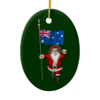 Droll Santa Claus With Flag Of Australia Ceramic Ornament