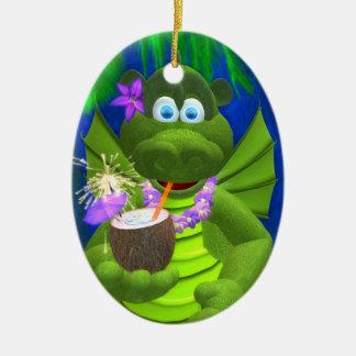 Drolly chica del coco de los dragones adorno navideño ovalado de cerámica