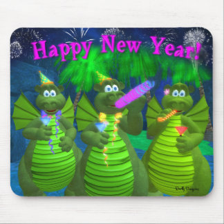 Drolly Dragons Happy New Year Mouse Pad