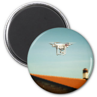 Dron above roofs 2 inch round magnet