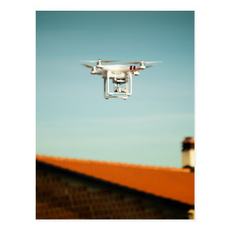 Dron above roofs postcard