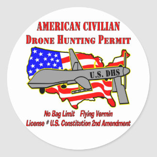 Drone Hunting Permit Classic Round Sticker