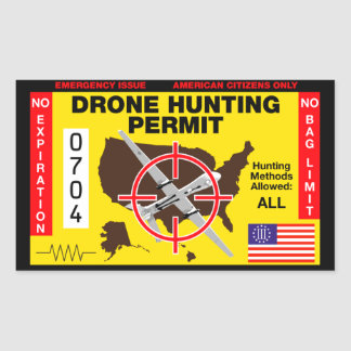 Drone Hunting Permit Rectangular Sticker