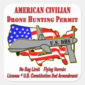 Drone Hunting Permit Square Sticker