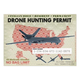 Drone Hunting Permits Large Business Cards (Pack Of 100)