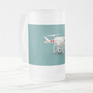 Drone phantom frosted glass beer mug