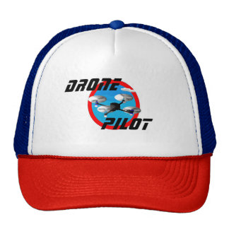 Drone pilot logo with sky blue center trucker hat