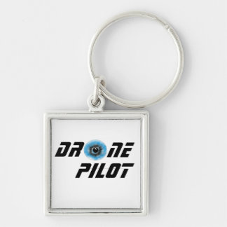 Drone pilot with eyeball Silver-Colored square keychain