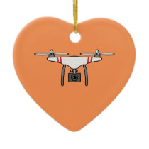 Drone Quadcopter Flying Front Ceramic Ornament