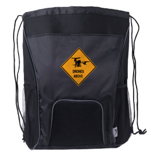 drones above drawstring backpack