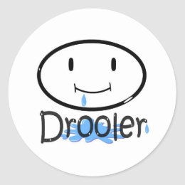 drooler blue classic round sticker