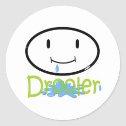 drooler green classic round sticker