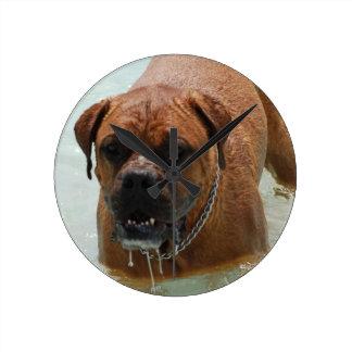 Drooling Bordeaux Mastiff Round Clock