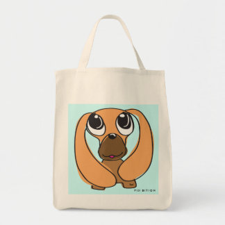 Droopy Ear Dachshund Grocery Tote Canvas Bag