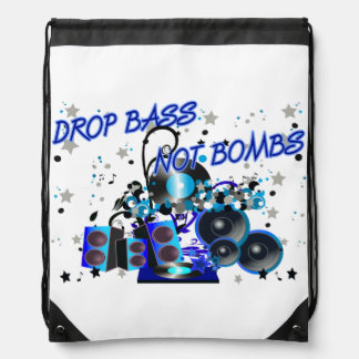 Drop Bass Not Bombs Sub vs War Drawstring Backpack