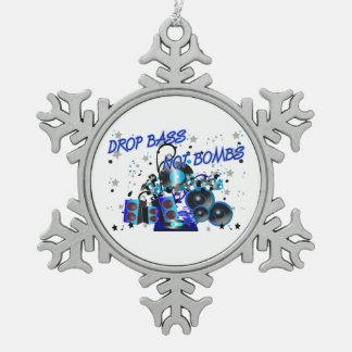Drop Bass Not Bombs Sub vs War Snowflake Pewter Christmas Ornament