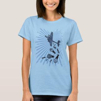 Drop Beats Blue Burst Ladies Baby Doll T-Shirt