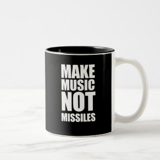 Drop Beats Not Missiles Two-Tone Coffee Mug