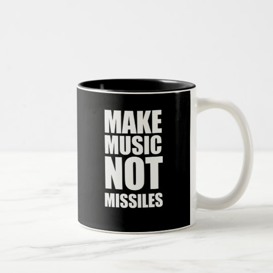 Drop Beats Not Missiles Two-Tone Coffee Mug