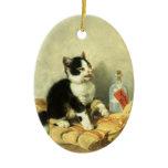 Drop cat ceramic ornament