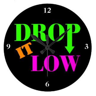 Drop It Low Neon Style Large Clock
