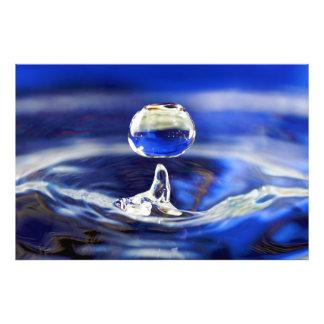 Drop of Cool Blue Water Raindrop Art Photo