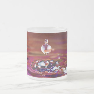 Drop of Water Falling into Rainbow Colored Liquid Frosted Glass Coffee Mug