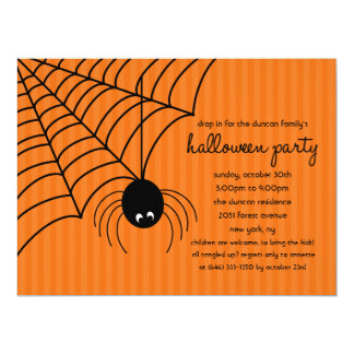 Drop On In Spider Halloween Party Invitation