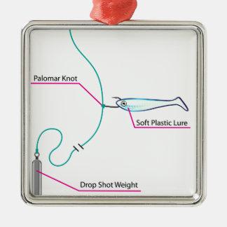 Drop Shot lure setup bottom fishing Metal Ornament
