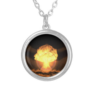 Drop the bomb silver plated necklace