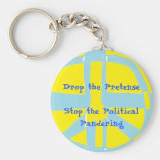 Drop the Pretense Basic Round Button Keychain