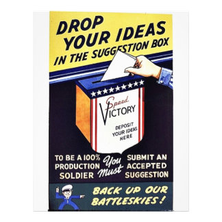 """Drop Your Ideas In The Suggestion Box 8.5"""" X 11"""" Flyer"""