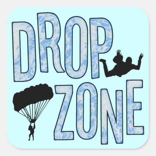Drop Zone Square Stickers