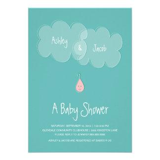 Droplet Baby Shower Invitation Aqua Pink