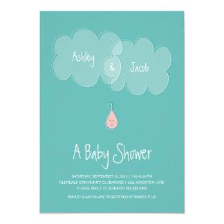 "Droplet Baby Shower Invitation Aqua/Pink 5"" X 7"" Invitation Card"
