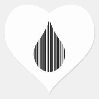 Droplet bar code heart sticker