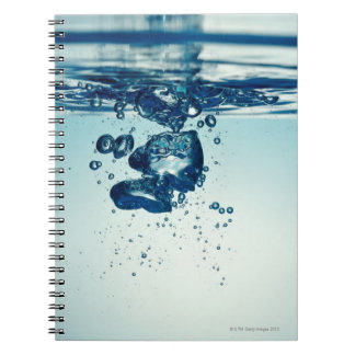 Droplet forming bubbles underwater note book