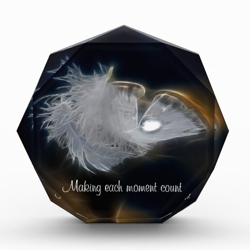 Droplet of water on a white feather awards