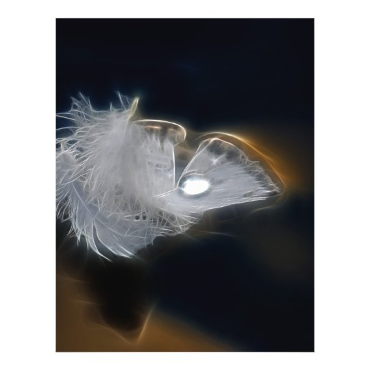 Droplet of water on a white feather flyer