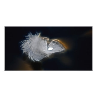 Droplet of water on a white feather photo card