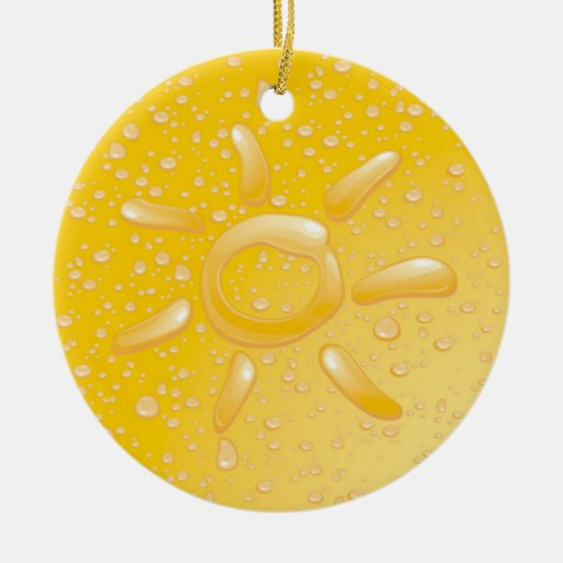 Droplets and The Sun Double-Sided Ceramic Round Christmas Ornament