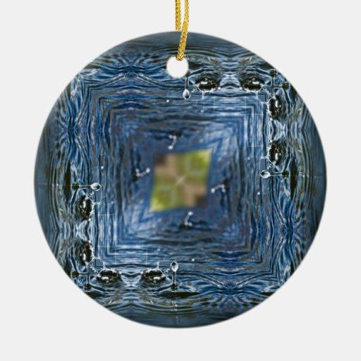 Droplets Inverted Geometric Ceramic Ornament